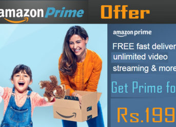 get amazon prime for cheap price of Rs.199 with discount -Amazon prime offers deals, prime membership trick tips- freee delivery amazon tricks tips - how to get free delivery fora all products in amazon- amazon new offers deals - amazon free delivery