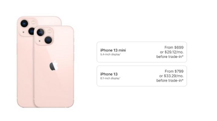 iPhone 13 mini price in US , iPhone 13 price in US