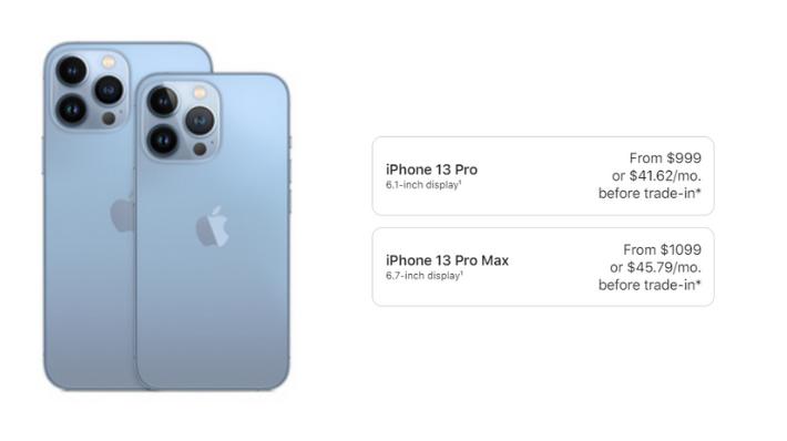 iPhone 13 pro, pro max price in US